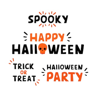 Cute lettering phrases set trick or treat, halloween party, spooky, happy halloween.