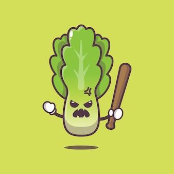 Милый салат злой иллюстрации шаржа овощной мультфильм векторные иллюстрации
