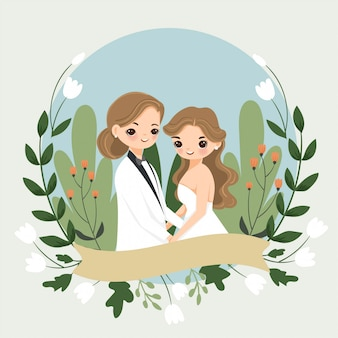 Cute lgbt couple cartoon with flower for wedding invitation card