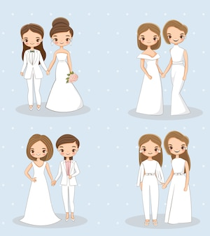 Cute lgbt wedding couple character collections set