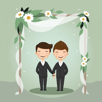Cute lgbt wedding couple for invitations card