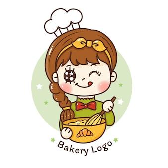 Симпатичная lgirl наслаждается приготовлением пекарни логотип для пекарни и кафе