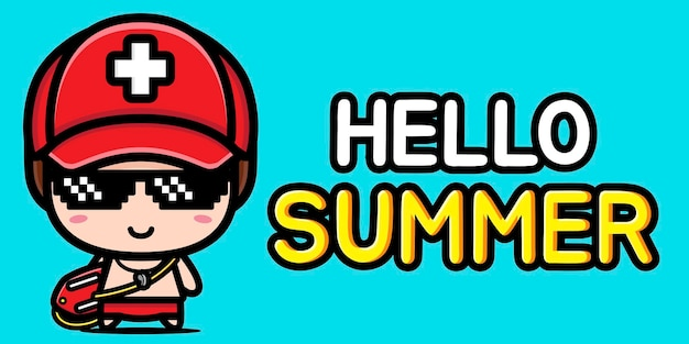 Милый спасатель с летним поздравительным баннером