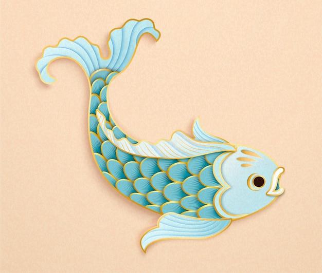 美しいスケールのペーパーアートスタイルでかわいい水色の魚