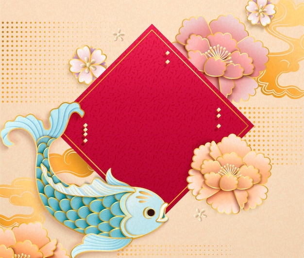 Cute light blue fish in paper art style with blank spring couplet and peony