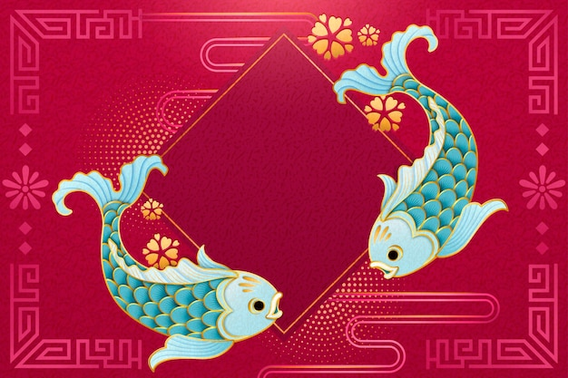 Cute light blue fish in paper art style with blank spring couplet