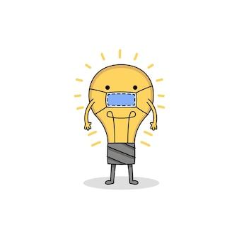 マスクを身に着けているかわいい電球の漫画のキャラクター
