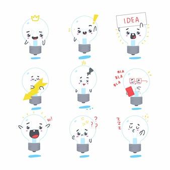 かわいい電球の漫画のキャラクターセット