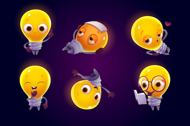 Cute light bulb character in different poses