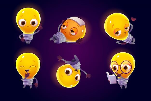 さまざまなポーズでかわいい電球のキャラクター