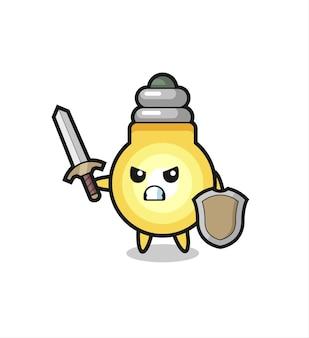 剣と盾と戦うかわいい電球の兵士、tシャツ、ステッカー、ロゴ要素のかわいいスタイルのデザイン