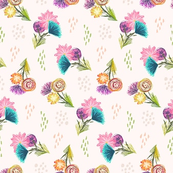 Cute light sketchy seamless pattern with orange, blue and pink flowers bouquets and colorful dots