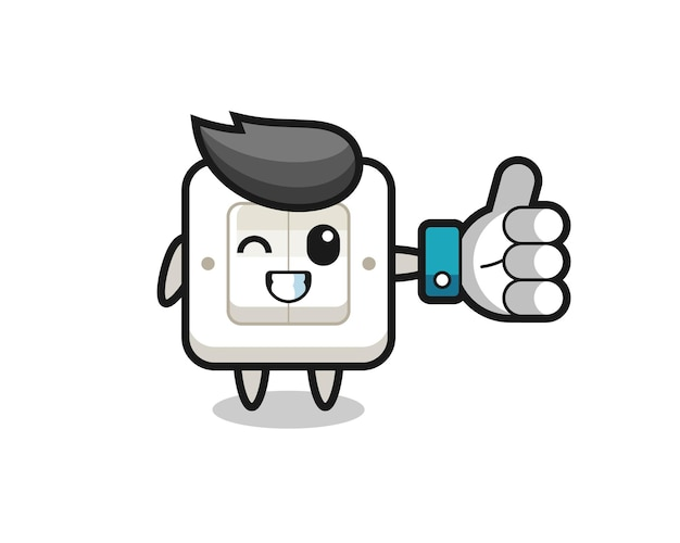 Cute light switch with social media thumbs up symbol , cute style design for t shirt, sticker, logo element