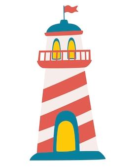 Милый маяк значок. прожекторные вышки для морского наведения. детское искусство. мультяшный рисованной иллюстрации на белом фоне в плоском стиле.