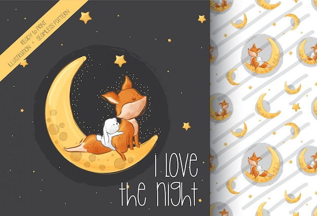 Cute liitle fox  bunny on the moon seamless pattern