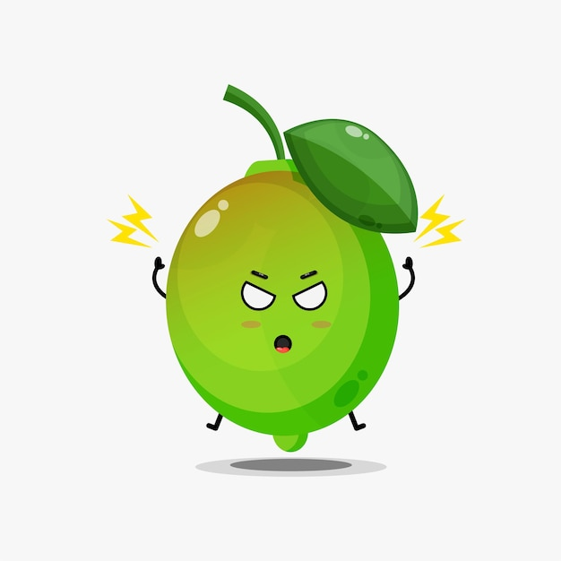 Cute lime character is angry