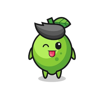 Cute lime character in sweet expression while sticking out her tongue , cute style design for t shirt, sticker, logo element