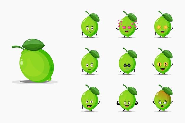 Cute lime mascot set