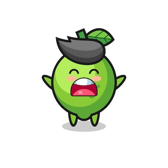 Cute lime mascot with a yawn expression , cute style design for t shirt, sticker, logo element