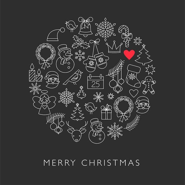 黒の背景にかわいい線画のクリスマスのキャラクター。グリーティングカード、バナーまたはポスターのベクトルテンプレート