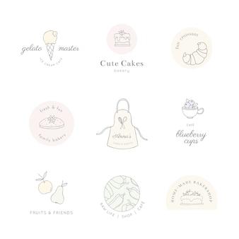귀여운 라인 아트 음식과 요리 로고