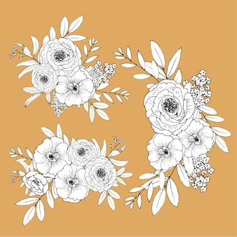 Милые линии цветы изолированы. ручной обращается букет