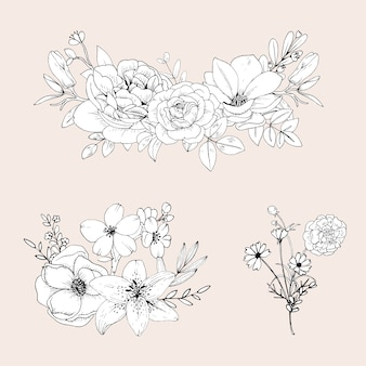 Cute line flowers  isolated  . hand drawn bouquet