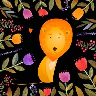 黒の背景イラストの花の間でかわいいライオン