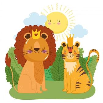 왕관과 함께 귀여운 사자와 호랑이