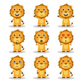 かわいいライオンの動物のキャラクターバンドル