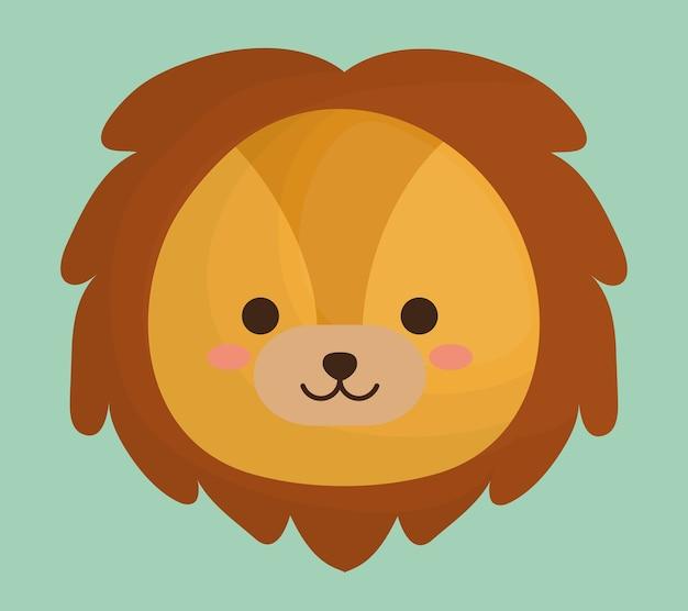 Симпатичный лев животных значок