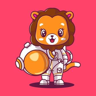 Симпатичный лев космонавт значок иллюстрации