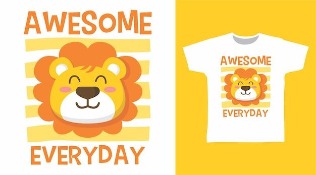 かわいいライオンの素晴らしい毎日のtシャツのデザイン
