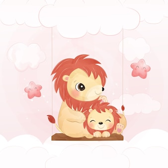 Cute lion and baby lion in watercolor illustration