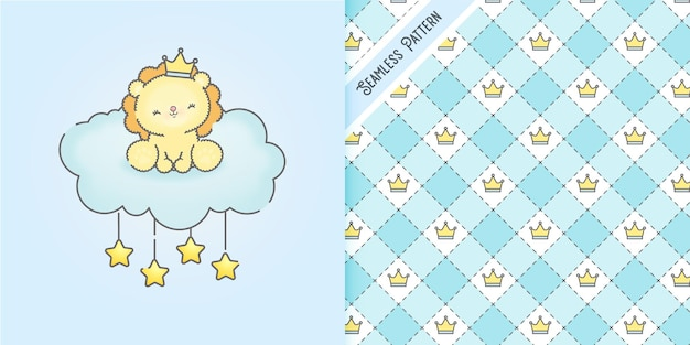 Cute lion on a blue cloud and crowns seamless pattern