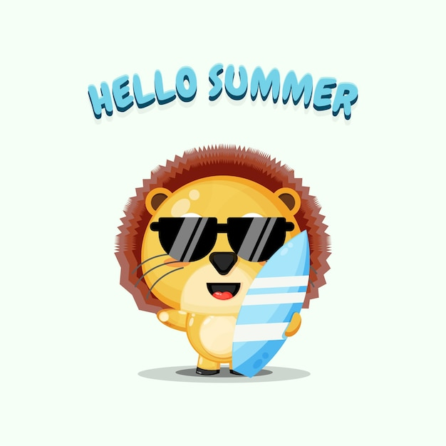 Cute lion carrying surfboard with summer greetings