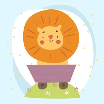 Cute lion in a cart illustration