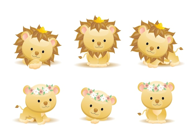 Cute lion cartoon animal
