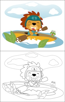 Cute lion cartoon canoeing