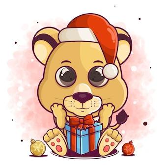 Мультфильм милый лев празднуют рождество