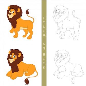 Милый лев мультфильм, книжка-раскраска