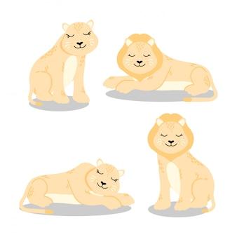 귀여운 사자 만화 요소 세트