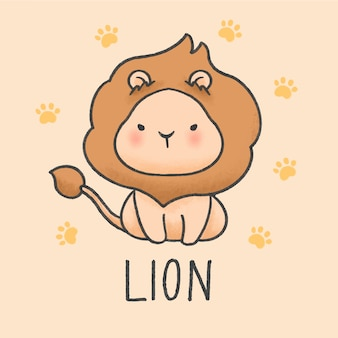 Cute lion cartoon hand drawn style