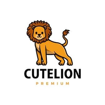 Милый лев мультфильм значок иллюстрации логотип