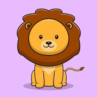 Мультфильм милый лев на розовом фоне