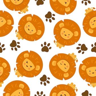 足跡とかわいいライオンの漫画のシームレスなパターン