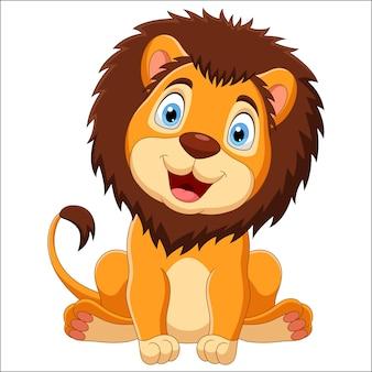 白い背景の上に座ってかわいいライオン漫画