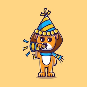 Cute lion celebrates the new year by blowing the trumpet