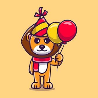 Милый лев празднует с новым годом или днем рождения воздушными шарами