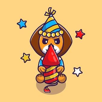 Милый лев празднует новый год с ракетой фейерверка